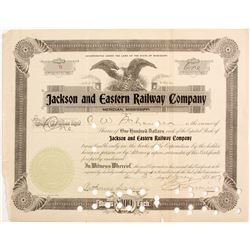 Jackson and Eastern Railway Co. Stock   (83229)