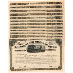 Louisiana and Missouri River Railroad Co. Stock Certificates   (107381)