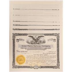 Great Plains Railway Co.  Stocks (10)   (106182)