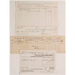 (3) Virginia & Truckee R.R. Waybill and Freight Receipts   (79061)
