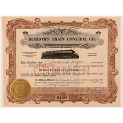 Burrows Train Control Co. Stock Certificate   (107376)