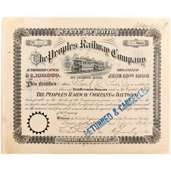 Peoples Railway Co of Dayton, OH Stock   (84223)