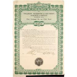 Sallisaw, Mc Alester & Southern Railway Bond   (84178)