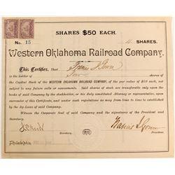 Western Oklahoma Railroad Stock   (84107)