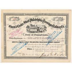 Green & Coates St Philadelphia Passenger Railway Co. Stock Cert   (106051)