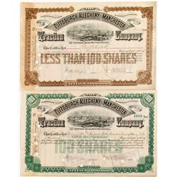 Pittsburgh, Allegheny and Manchester (Stock Certs)   (84414)