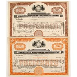 Lackawanna and Wyoming Valley Railroad Stocks (2)   (84972)