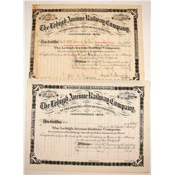 Lehigh Avenue Railway Stocks (2)   (84967)