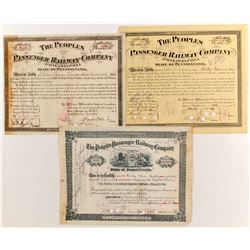 Peoples Passenger Railway Co of Philadelphia Stocks, (3)   (84222)