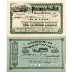 Pittsburgh & West End Stock Certs.   (84415)