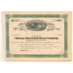 Citizens St Rail Road Co. of Shelby County Stock Certs   (106052)