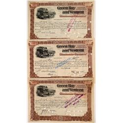 Green Bay & Western Railroad Co Stocks (3)   (106030)