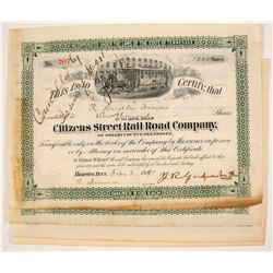Citizens Street Rail Road Company Stock Certificate   (79676)