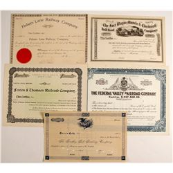 Five Non-issued Railroad Stock  Certificate from the Mid-west   (75816)