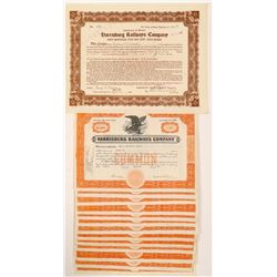 Harrisburg Railway Co Stock Certicates (14)   (105712)