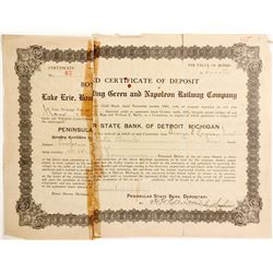 Lake Erie, Bowling Green and Napoleon Railway Cert of Deposit   (85120)
