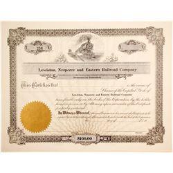 Lewiston, Nezperce and Eastern Railroad Stock   (84957)