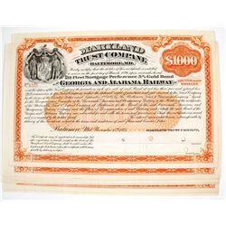 Maryland Trust Company Bond Certificates for The Georgia and Alabama Railway   (79653)