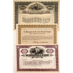 Minneapolis & St. Louis Railroad Stock (3)   (83252)