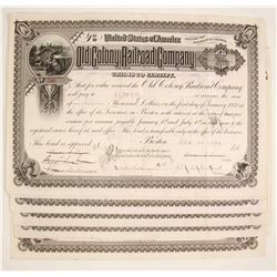 Old Colony Railroad Company Stock Certificate - Massachusetts    (79620)