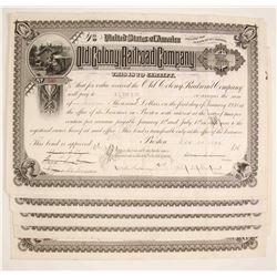 Old Colony Railroad Company Stock Certificate - Massachusetts    (79620)