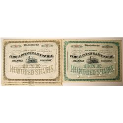 Peoria, Decatur & Evansville Railway Company Stock Certificates   (78941)
