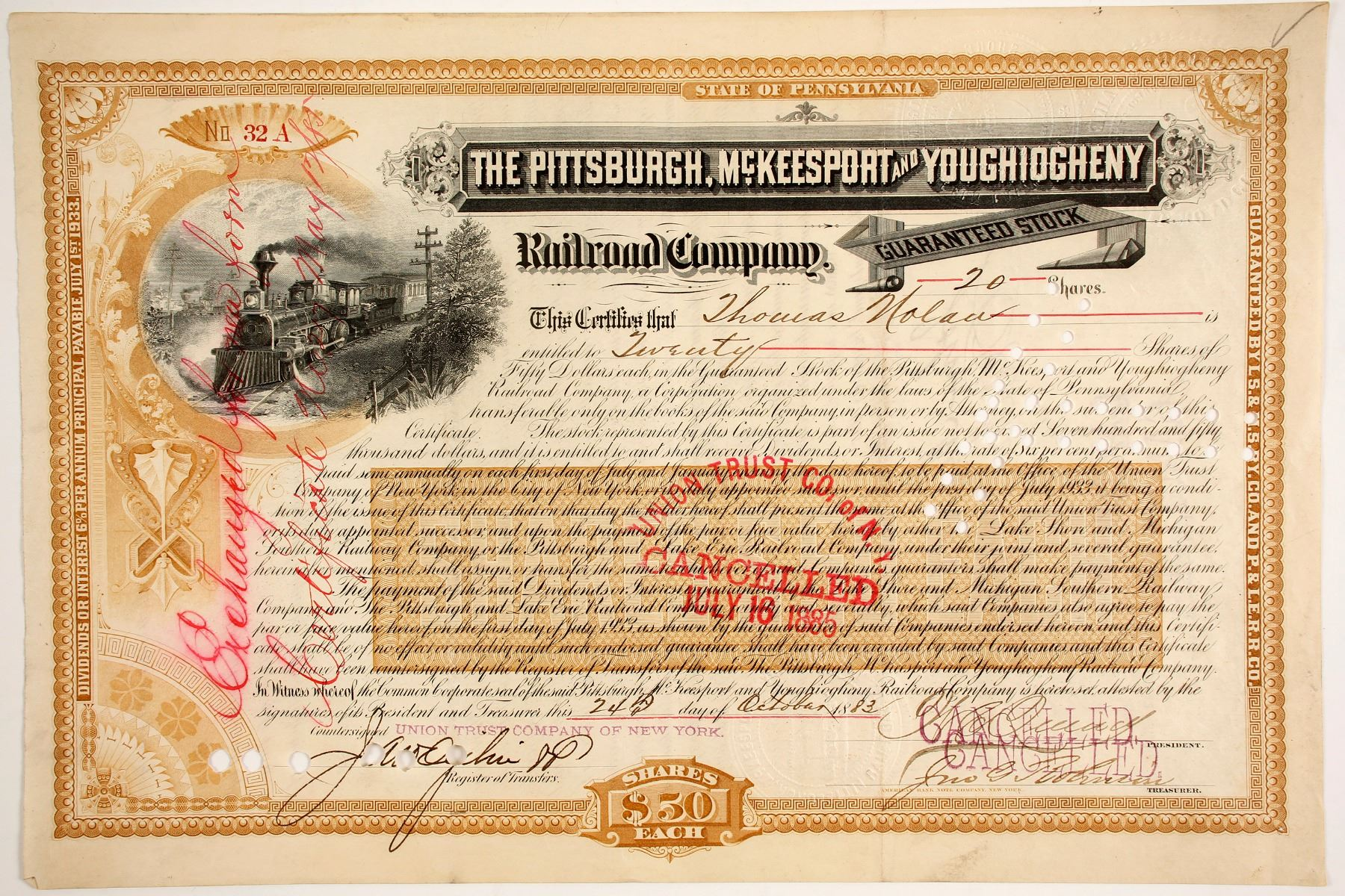 Reading Company Stock Certificate Railroad Red