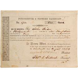 Portsmouth & Concord Railroad Stock   (84905)