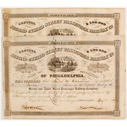 Second & Third Street Passenger Railway Company Stock Certificates   (78776)