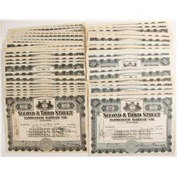 Second & Third Street Passenger Railway Company Stock Certificates   (78756)