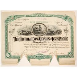 The Cincinnati, New Orleans and Texas Pacific Railway Company Stock Certificates   (79677)