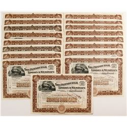 The Pittsburgh, Lisbon & Western Railroad Company Stock Certificates   (78773)