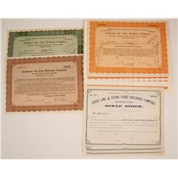 Three Different New York, Pennsylvania Railroad Stock Certificates   (78943)