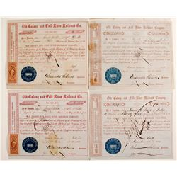 Two Different Varieties of Old Colony and Fall River Railroad Company Stock Certificates    (78772)