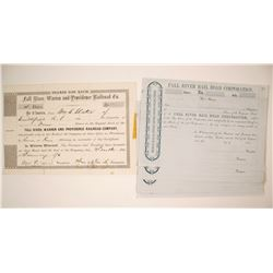 Two Types of Fall River RR Company Stock Certificates   (79669)