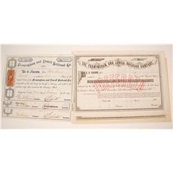 Two Varieties of Framingham and Lowell RailRoad Stock Certificates   (78923)