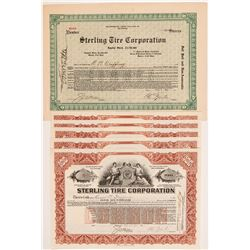 Sterling Tire Corporation Stock Certificates   (104277)
