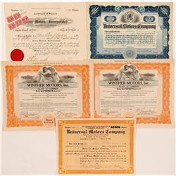 Five Automobile Company Stock Certificates   (104439)