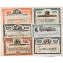 Six Different Auto Stock Certificates   (104249)