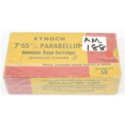 50 Rnds Kynoch 7.65mm Parabellum 92grn