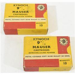 20 Rnds Kynoch 9mm Mauser 245grn Jkt SP