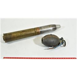 40mm Projectile and Decommissioned Hand Gernade