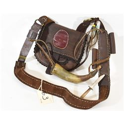 Leather Muzzle Loading Pouch with Horn & Knife