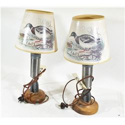 Two Mortar Shell Lamps