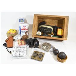 Wooden 30-06 Ammo Box of Miscellaneous Items