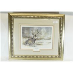Winter Watch Blue Whitetail Deer Signed Print