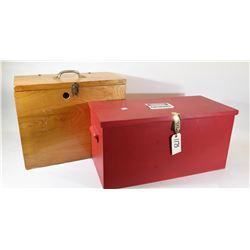 2 Wooden Storage Boxes