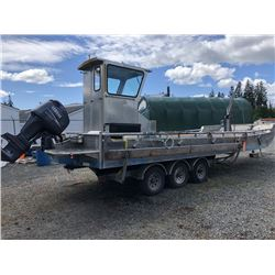 32'X10'X7' FLAT DECK ALUMINUM CRANE BOAT WITH KIMPEX 4000 ELECTRIC WINCH 15 H.P YAMAHA