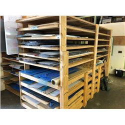 LARGE INVENTORY OF PLASTIC INCLUDING: 5 RACKS OF SHEETS OF PLASTIC  & APPROX 10 ROLLS OF
