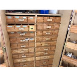 LARGE DOUBLE DOOR PARTS CABINET WITH CONTENTS